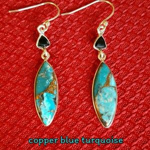 Turquoise Onyx Earrings Sterling Silver NEW